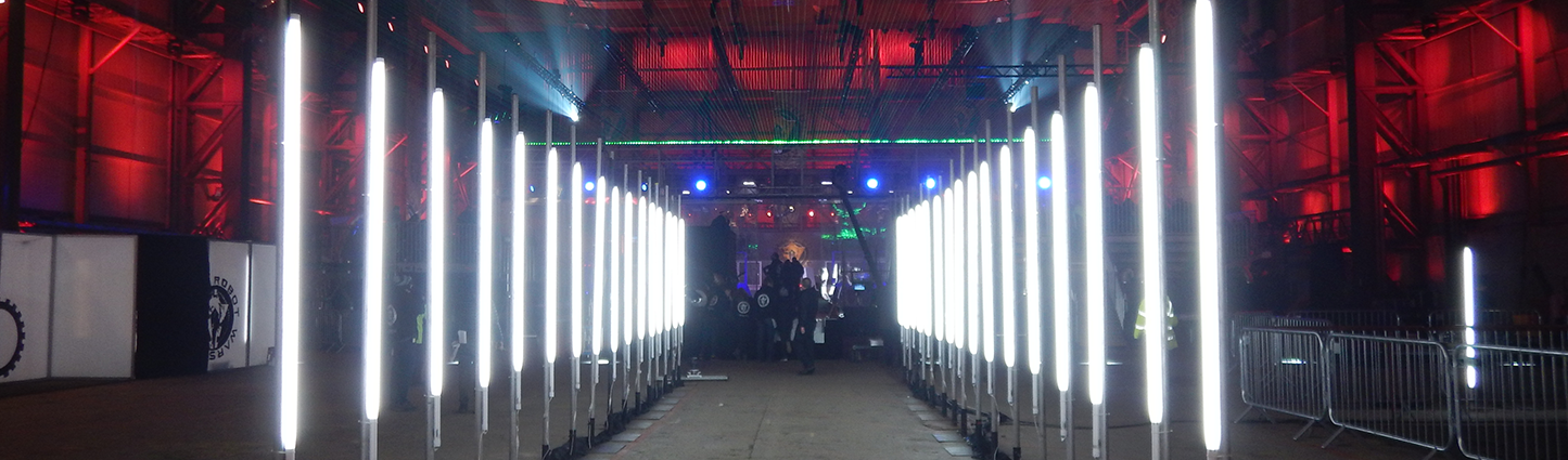 Tunnel of lights leading to the arena